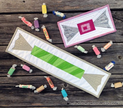Shoreline Sweets, quilt blocks inspired by salt water taffy candy. Designed and pattern available at wholecirclestudio.com