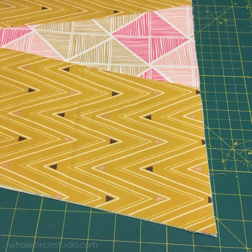 Piecing the reversible wedge table runner.