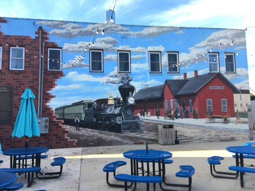 Train mural in Hamilton, Missouri
