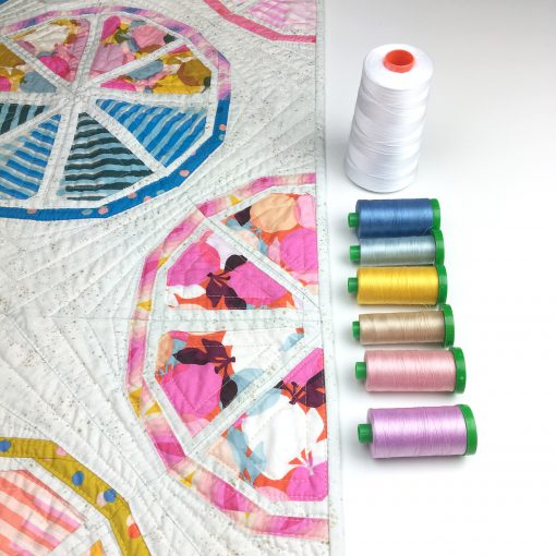 matching Aurifil cotton 40wt thread with Citrus Slices quilt