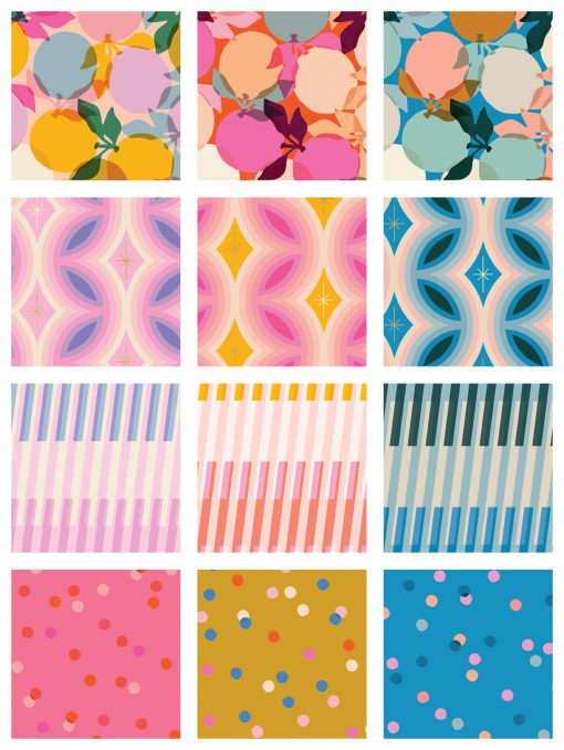 Clementine, by Melody Miller for Ruby Star Society, fabric swatches.