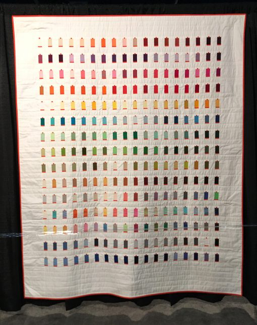 """270 Colors"" by Sheri Cifaldi-Morrill Statement: ""I designed and created a quilt for the Italian thread company, Aurifil, to commemorate and celebrate their tenth anniversary in the United States. The quilt features all 270 curent colors of Aurifil's 50wt thread"" [Design Source: Aurifil 50wt large cotton thread spools 