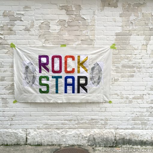 Rockstar, a modern quilt by Sheri Cifaldi-Morrill using Typecast letters block pattern and Marquis from Patchwork Lab: Gemology book.