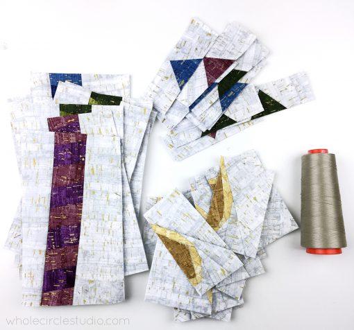 Celebration Candles quilt blocks—foundation paper pieced patterns in progress.
