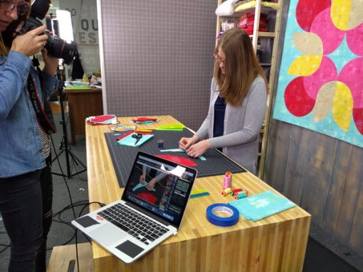 behind the scenes filming Piecing Curves with Confidence class with Sheri Cifaldi-Morrill at Missouri Star Quilt Company