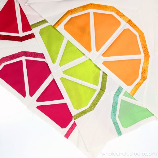 Foundation Paper Pieced quilt blocks with Art Gallery Pure Solids and Elements. Pattern by Whole Circle Studio