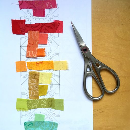 Selecting a beautiful rainbow fabric color palette for my Citrus Slices quilt blocks