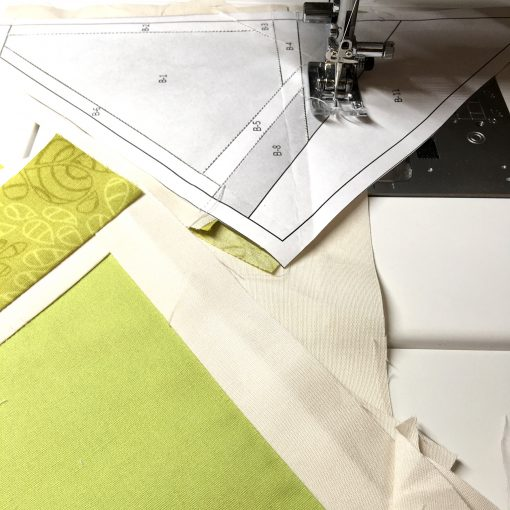 Foundation paper piecing Citrus Slices on my Janome 6700p