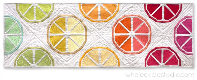 Sew and quilt a table runner to freshen up your dining table. Citrus Slices pairs perfectly with prints or solid fabric. Use what you have in your stash and make it scrappy or grab your favorite fat quarter bundle for the fruit segments and rinds. Foundation paper piece lemons, oranges, grapefruit, limes and more!