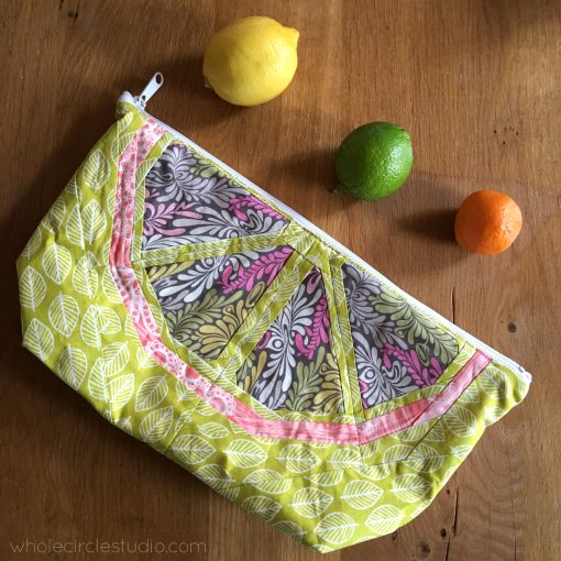 A perfect gift to make (and way to organize your sewing supplies or other things like snacks). Make a pouch. Pattern by Noodlehead. Incorporating Citrus Slices block by Whole Circle Studio