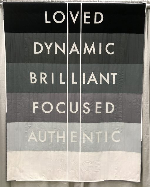 """""""Have Value"""" by Chattanooga Modern Quilt Guild @chattmqg Statement: """"The visible words are all part of what give a person Value. Once we allow another person to judge us then they have valued us. Don't be valued, have value."""" Modern quilt featured in the Charity Quilts category at QuiltCon 2020 in Austin, Texas presented by the Modern Quilt Guild."""