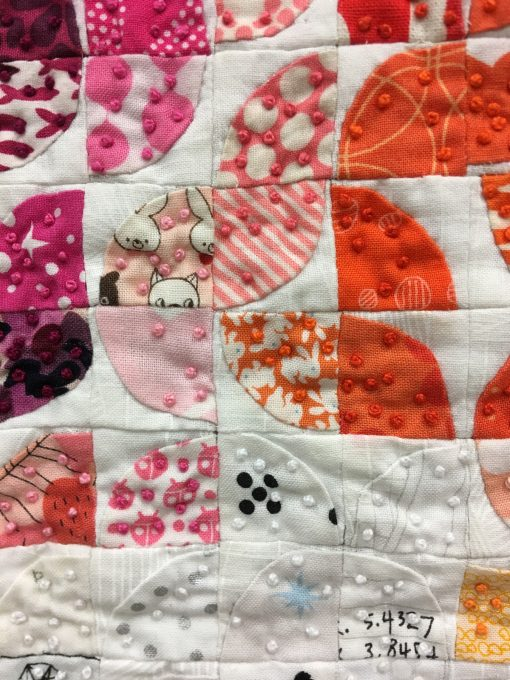 """detail of """"Curvelets"""" by Jen Carlton Bailly @bettycrockerass Statement: """"Teeny tiny bits Focuse order and routine Present mind calming"""" Modern quilt featured in the Small Quilts category at QuiltCon 2020 in Austin, Texas presented by the Modern Quilt Guild."""