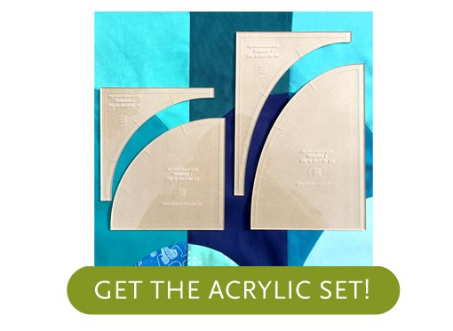 Make cutting curves for your Drunkards Path quilt a breeze! Instead of printing, cutting and tracing your own templates use the Big Island Sunset Acrylic Templates and skip right to the cutting. Acrylic templates will save you time and increase accuracy.