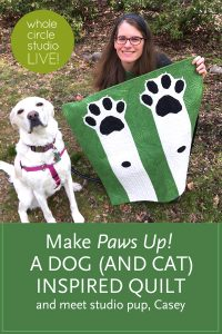 Make a dog (or cat) inspired quilt! Learn more about Paws Up! — a foundation paper piecing pattern that makes a mini, throw, twin, or queen modern quilt. Pattern designed by Whole Circle Studio.