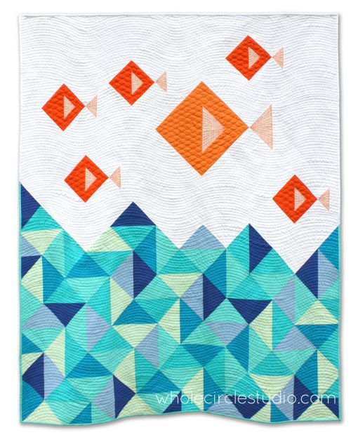 Go Fish! This is a fun, modern pattern that is comprised mostly of half square triangles. This tested pattern contains detailed instructions and diagrams, making it a breeze to piece. Works well with prints, solids or a combination of both!