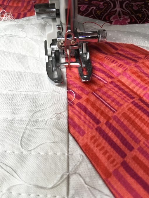 Quilting Apple Turnover quilt block on my Janome 6700p