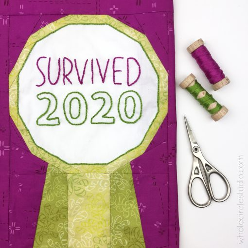 Best in Show quilt block, a foundation paper piecing pattern, with embroidery. Survived 2020! Pattern by whole circle studio