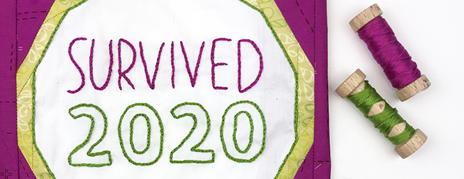 Survived 2020, embroidery by Sheri Cifaldi-Morrill. Quilt block pattern is Best in Show by whole circle studio.