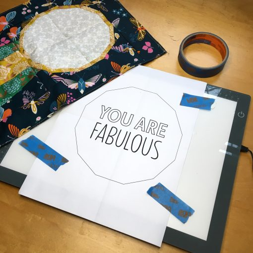 tracing text to embroider on a quilt block