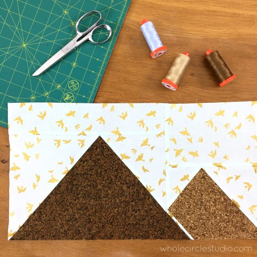Great Pyramids of Giza foundation paper pieced quilt block. Around the World Block of the Month Quilt Sew Along by Whole Circle Studio
