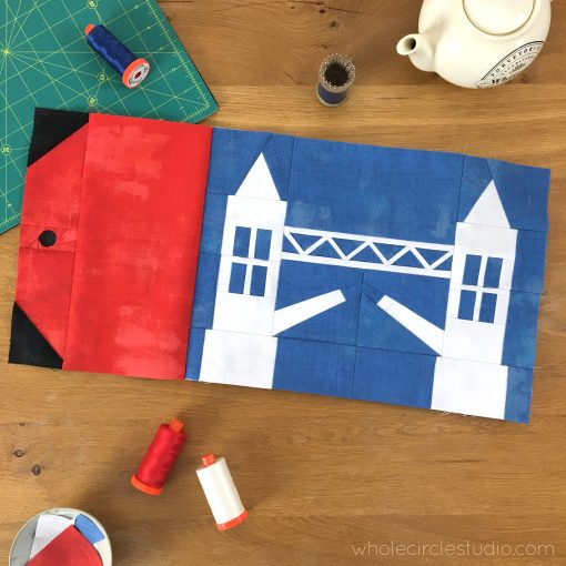 Tower Bridge quilt block made with Grunge by Moda Fabrics. Around the World Block of the Month designed by Whole Circle Studio