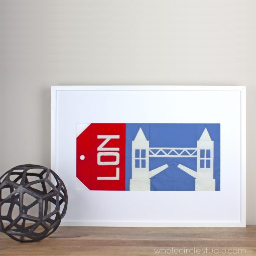 Tower Bridge, London England foundation paper pieced quilt block — framed travel artwork. Around the World Block of the Month Quilt Sew Along by Whole Circle Studio