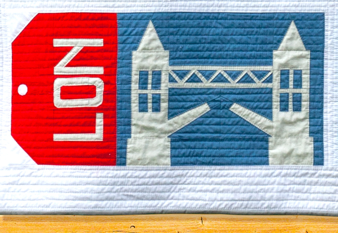 Tower Bridge block made with Art Gallery Fabrics Pure Solids