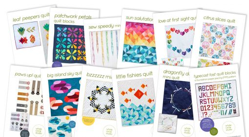 quilt patterns: strip piecing, half square triangles, foundation paper piecing patterns by whole circle studio