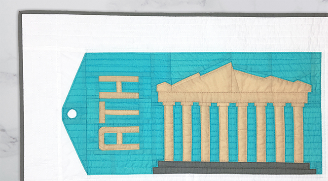 Parthenon (Athens, Greece) foundation paper pieced quilt block — framed travel artwork. Around the World Block of the Month Quilt Sew Along by Whole Circle Studio