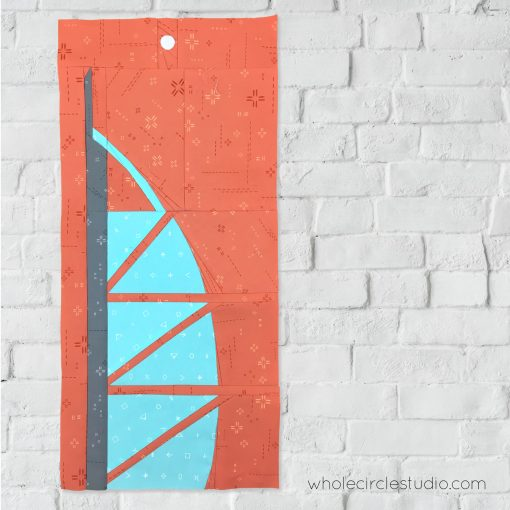 Burj Al Arab (Dubai, United Arab Emirates UAE) quilt block made with Art Gallery Fabrics Elements. Foundation paper piecing pattern, part of Around the World Block of the Month Quilt Sew Along