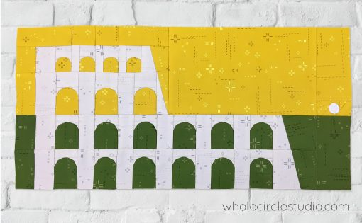 Colosseum (Rome, Italy) quilt block made with Art Gallery Fabrics Elements. Foundation paper piecing pattern, part of Around the World Block of the Month Quilt Sew Along
