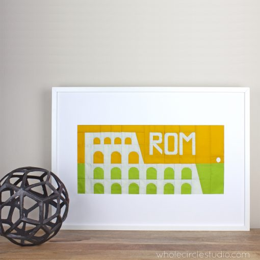 Colosseum(Rome, Italy) foundation paper pieced quilt block — framed travel artwork. Around the World Block of the Month Quilt Sew Along by Whole Circle Studio