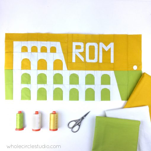 Colosseum (Rome, Italy) quilt block made with Art Gallery Fabrics Pure Solids. Foundation paper piecing pattern, part of Around the World Block of the Month Quilt Sew Along