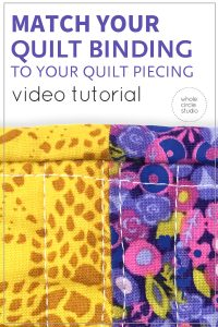 Learn how to match and align the seams of your quilt binding to the fabrics in your quilt top in this video tutorial. Matching seams between your quilt and and binding can look difficult to accomplish, but with some tips and patience, it is easy to achieve accurate alignments. Available at Whole Circle Studio blog.