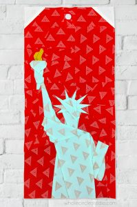 Statue of Liberty (New York City, USA) quilt block made with Art Gallery Fabrics Elements. Foundation paper piecing pattern, part of Around the World Block of the Month Quilt Sew Along