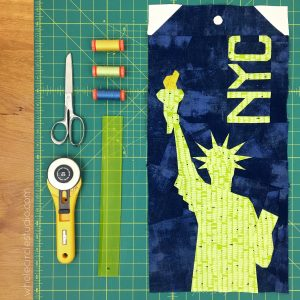 Statue of Liberty (New York City, USA) block — a foundation paper piecing pattern part of the Around the World quilt block series.