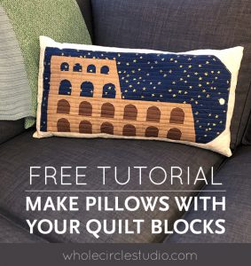 Learn how to make an easy, simple envelope pillow with your quilt blocks or mini quilts from this free tutorial.