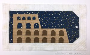 Making my Around the World Colosseum quilt block into a pillow.