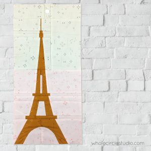 Eiffel Tower (Paris, France) quilt block made with Art Gallery Fabrics Elements. Foundation paper piecing pattern, part of Around the World Block of the Month Quilt Sew Along