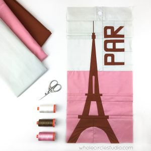 Eiffel Tower (Paris, France) quilt block made with Art Gallery Fabrics Pure Solids. Foundation paper piecing pattern, part of Around the World Block of the Month Quilt Sew Along
