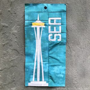 Space Needle (Seattle, Washington) quilt block made with Grunge by Moda Fabrics. Around the World Block of the Month designed by Whole Circle Studio